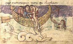 Jonah is swallowed by the whale (Ketos) - Carolingian miniature folio-079r