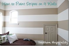 How to paint stripes on all 4 walls and get crisp even lines!