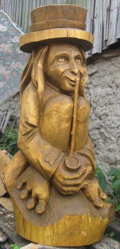 Vodník - sedící s dýmkou Wood Carving, Garden Sculpture, Albums, Outdoor Decor, Home Decor, Wood Sculpture, Decoration Home, Room Decor, Wood Carvings