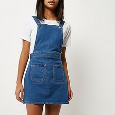 Robe chasuble style salopette en jean bleu vif - salopettes - Combi-shorts/combinaisons - femme
