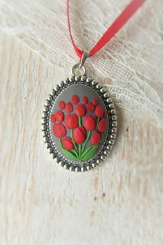 ~~~ I make all my jewellery with real Love, Patience and Carefully ~~~ This is a handmade polymer clay pendant with Red Tulips Flower motifs in
