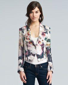 Floral-Print Silk Cropped Blazer