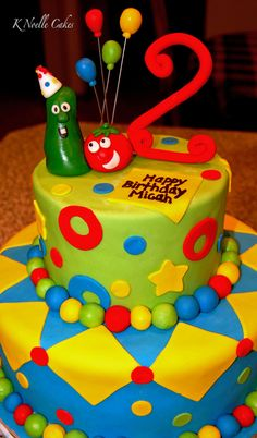 Like the idea of adding a wooden 2 to the top of the cake - Veggie Tales