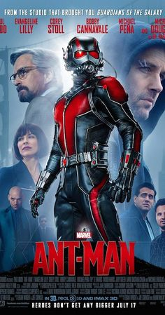 Directed by Peyton Reed.  With Paul Rudd, Michael Douglas, Corey Stoll, Evangeline Lilly. Armed with a super-suit with the astonishing ability to shrink in scale but increase in strength, cat burglar Scott Lang must embrace his inner hero and help his mentor, Dr. Hank Pym, plan and pull off a heist that will save the world.