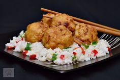Conopida in stil chinezesc, cu garnitura de orez Romanian Food, Chorizo, Paella, Noodles, Slow Cooker, Bacon, Food And Drink, Rice, Meat