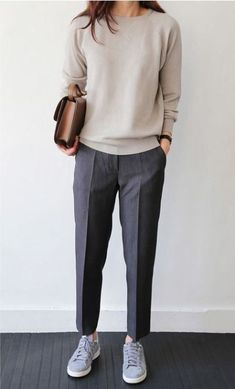 Casual Office Outfit Nude Top Plus Bag Plus Sneakers Plus Grey Pants