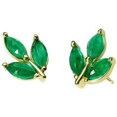 Finn Emerald Leaf Stud Earrings found on Polyvore