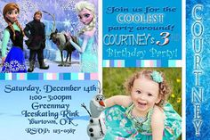 20 Disney Frozen Birthday Party Personalize Invitation (encludes envelopes)
