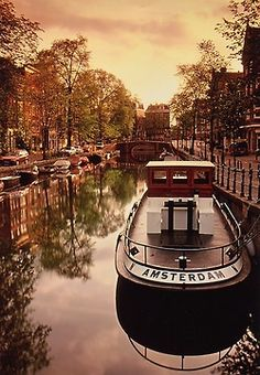 amsterdam, canal, boat, sunset,