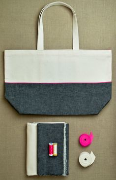 Materials for Everyday Tote  from Purl Soho: Our Everyday Tote is the ideal carryall: sturdy, easy to carry, and fabulous looking! This special gift kit includes 1/2 yard of Cotton Duck (Natural); 1/2 yard of Kiyohara Linen Blend Solid (Black for Pink Tote or Navy for Yellow Tote); 5 yards of Neon Bias Tape (Pink or Yellow); 100% cotton thread (color 1040); Neon Thread (Chrysanthemum or Sour Apple); and 2 yards of Sangle Cotton Webbing (Natural or Navy); plus a pretty card that pictures the…