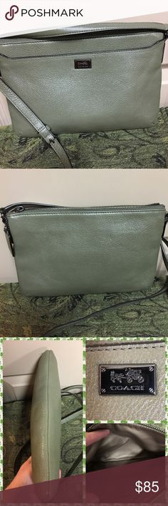 """🌺Leather Coach Crossbody🌺 A like new light olive crossbody. It has a long adjustable strap, one outside pocket and one inside pocket. In excellent condition. 7"""" high and 10"""" wide. Coach Bags Crossbody Bags"""