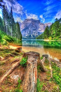Lake Braies Dolomiti, Italy.