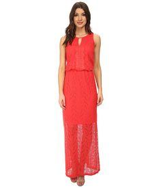 London Times Sleeveless Keyhole Lace Blouson Maxi Dress Guava - 6pm.com