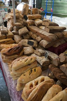 Pains sur le marché d'Aix en Provence, France....look at this table of delicious looking bread....YUMMY!