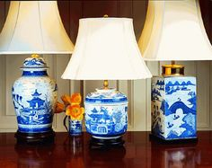 Mottahedeh's emphasis on color is superbly realized in these lamps with some designs requiring as many as 27 individual colors to achieve. Shades are fine quality and each comes fitted with a decorative finial. The bases have been created to complement the design in materials including hand-finished hardwood, gold leaf, marble and brass.