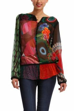 Desigual women's Mummy shirt. This chiffon, semi-sheer shirt has buttons along the front and a really strong print.