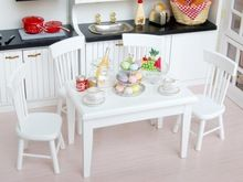 New 2014 Brand New 5pcs Dining Table Chair Model Set 1:12 Dollhouse Miniature Furniture White Free Shipping(China (Mainland))