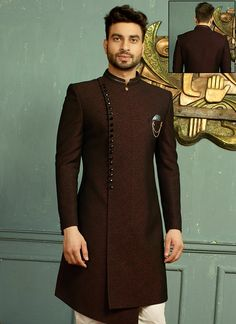 Sherwani - Huge collection of designer Sherwanis for men online. Buy the latest designer Sherwanis for wedding, engagement, and party with the best prices at Cbazaar. Mens Indian Wear, Indian Groom Wear, Indian Men Fashion, Big Men Fashion, Mens Fashion Suits, Men's Fashion, Wedding Dresses Men Indian, Wedding Dress Men, Wedding Suits
