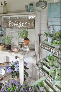 Buckets of Burlap's potting bench ~ Love the vintage seed cart that's used to display herbs!