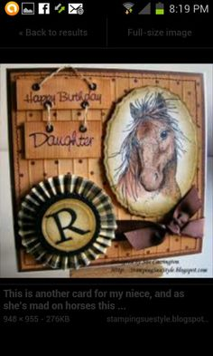 To complete: wood paper, tan paper, rosette sticker, brown ribbon, horse head stamp Scrapbooking, Scrapbook Cards, Horse Cards, Horse Birthday, Westerns, Birthday Cards For Women, Boy Cards, Beautiful Handmade Cards, Animal Cards