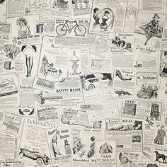 HaokHome 63275 Vintage Newspaper Peel & Stick Wallpaper B...