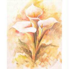 Image 3D Fleur - 3 arums sur fond clair 24 x 30 cm