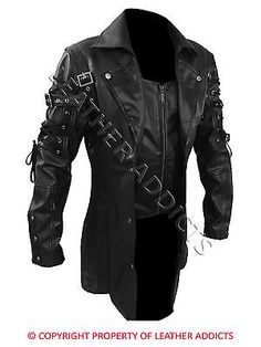 Mens real black leather goth #matrix trench coat steampunk #gothic van #helsing-t,  View more on the LINK: 	http://www.zeppy.io/product/gb/2/272344351072/