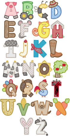 Farm Applique Alphabet Machine Embroidery Designs By JuJu Alphabet A, Alphabet Design, Animal Alphabet, Hand Lettering Alphabet, Caligraphy Alphabet, Preschool Alphabet, Alphabet Crafts, Embroidery Store, Embroidery Alphabet