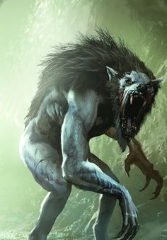 This image is from the Witcher franchise and I think that this design of a werewolf is creepy as the colours of the werewolf are dull and the background is fitting.                                                                                                                                                      Mais