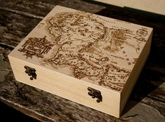 Lord of the Rings Middle Earth map woodburned box. $50.00, via Etsy.