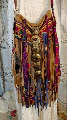 Handmade Tan Suede Leather Fringe Bag Ibiza Festival Boho Hippie Purse tmyers #Handmade #MessengerCrossBody
