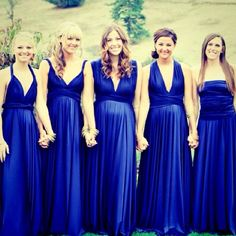 Two Birds Bridesmaid. Jess doesn't really like the infinity (wear infinite number of ways) dresses but I think it's a great way for all the dresses to be the same.but different so there isn't so matchy matchy. Two Birds Bridesmaid, Bridesmaid Dress Styles, Blue Bridesmaids, Wedding Dresses, Blue Wedding, Wedding Colors, Wedding Styles, Dream Wedding, Sapphire Wedding
