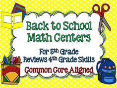 This set includes 8 full color math centers that review 4th grade Common Core math skills making it perfect for the beginning of 5th grade and that time before you have taught new skills.