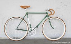 single speed bicycle bike corno marrone cornomarrone custom vintage steel classic road bike fixie urban racing green leather works