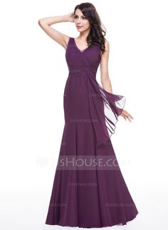 Trumpet/Mermaid V-neck Floor-Length Chiffon Evening Dress With Lace Cascading Ruffles (017056113)