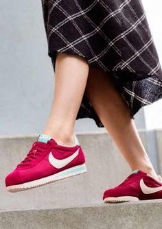Sneakers femme - Nike Cortez red/turquoise (©zalando)