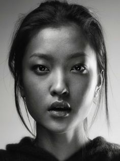 pinterest.com/fra411 #asian #beauty -  Black and white woman portrait face Asian Du Juan
