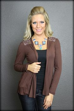 Back to the Basics Brown Cardigan with Rhinestones: Filly Flair