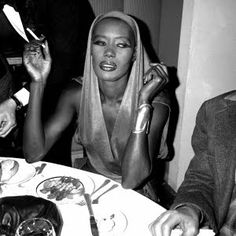 Grace Jones looking casual at dinner