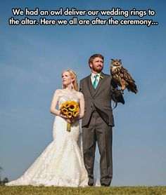 COOLEST IDEA EVER, especially if you don't like kids - have an owl deliver your wedding rings.
