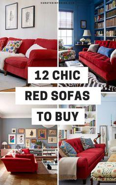 12 Fabulous Red Sofas for Your Living Room – Sofa Design 2020 Red Couch Living Room, Narrow Living Room, Living Room Decor, Palette Deco, Sofa Layout, Sofa Inspiration, European Home Decor, European Style, Décor Boho
