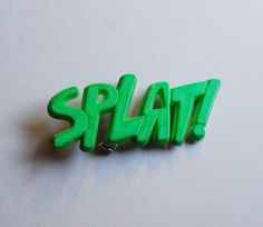 vintage green plastic SPLAT brooch by thesolarium on Etsy, $7.00