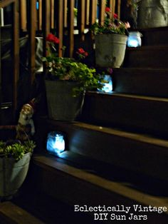 The How To:  * Spray jars with Krylon Frosted Glass spray paint (I did 2 coats)  * Remove picks from solar lights and put lights in jars  * Put on your steps, patio table, scattered in your garden beds …  * pat yourself on the back and have a cocktail