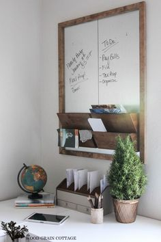 DIY Galvanized Metal & Wood Wall Organizer by The Wood Grain Cottage