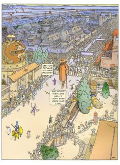 Brandon Graham ‏@royalboiler  4h4 hours ago I like this Moebius Sra page. That brown dome and the birds tooI