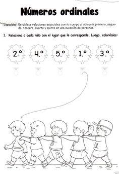 Números ordinales: Establece relaciones espaciales con su cuerpo al ubicarse primero, segundo, tercero, cuarto y quinto en una sucesión. Número ordinales 5 años