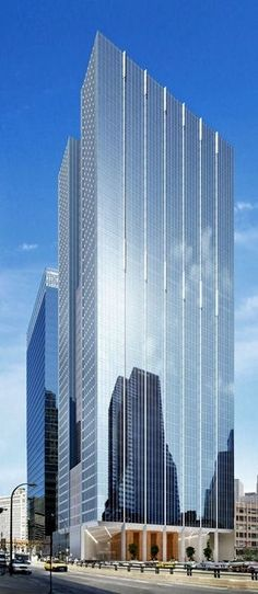 155 North Wacker Tower - Chicago, USA l Contemporary architecture building glass Sacred Architecture, Futuristic Architecture, Amazing Architecture, Contemporary Architecture, Architecture Design, Building Architecture, Mix Use Building, High Rise Building, Building Design