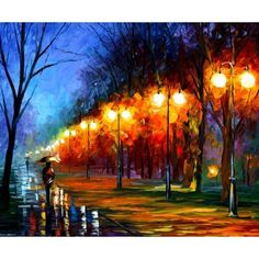 Landscape Oil Painting Night Wall Art On Canvas By Leonid Afremov - Fall, Rain, Alley. Thomas Kinkade Art, Kinkade Paintings, Fall Paintings, Landscape Paintings, Art Et Architecture, Art Thomas, Oil Painting Reproductions, Contemporary Landscape, Art Plastique