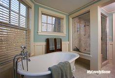 Waterproof Shutters For Shower Windows - Bathroom Treatment Window In Shower, Bath Or Shower, Wooden Shutters, Window Shutters, Wooden Bathroom, Bathroom Ideas, California Shutters, Plastic Curtains, Faux Wood Blinds