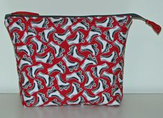 Quilted Zippered Pouch, Quilted Cosmetics Bag, Project Bag, Red and White Roller Skates, Quiltsy Handmade by VillageQuilts on Etsy